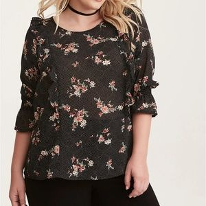 FLORAL DOT PRINT RUFFLED SMOCKED BELL SLEEVE TOP